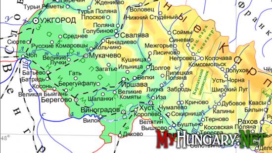 Список населенных пунктов жители которых могут получить венгерскую карточку малого пограничного движения