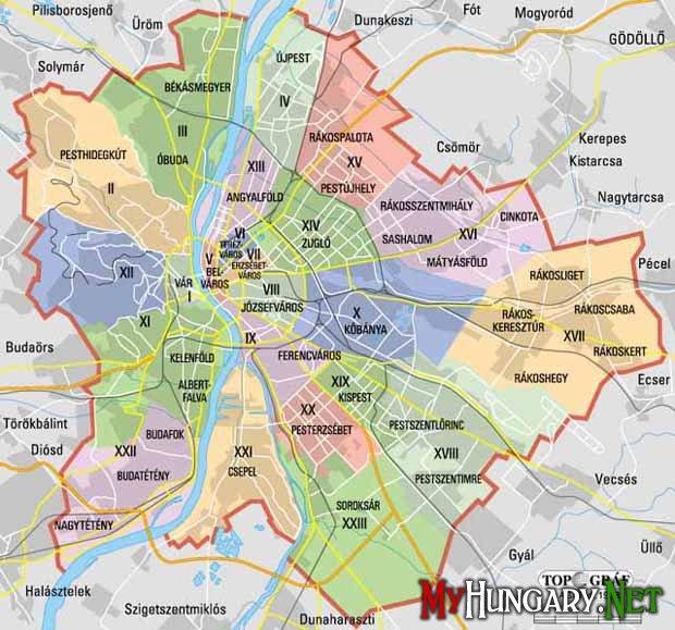 Схема районов Будапешта