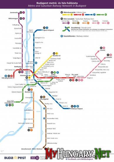 схема метро Будапешта и