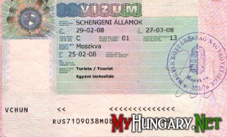 Образец шенгенской визы в Венгрию (schengeni vízum)